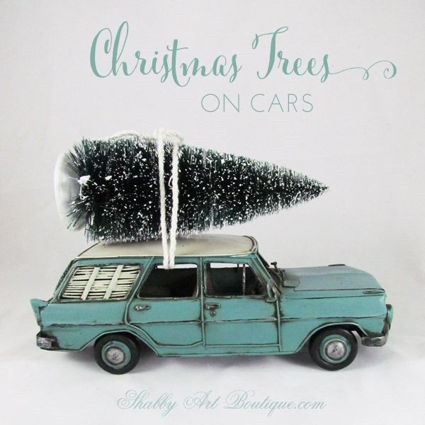 Christmas Trees on Cars - Shabby Art Boutique