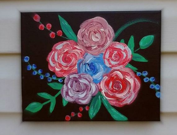 Abstract Roses Painting Floral wall art by ChrissyVanlewgoArt