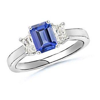 Angara Emerald-Cut Tanzanite and Trapezoid Diamond Three Stone Ring 15ILx0OgO