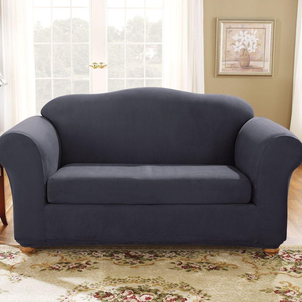 Sensational Sure Fit Stretch Suede Loveseat Slipcover 2 Piece Blue In Unemploymentrelief Wooden Chair Designs For Living Room Unemploymentrelieforg