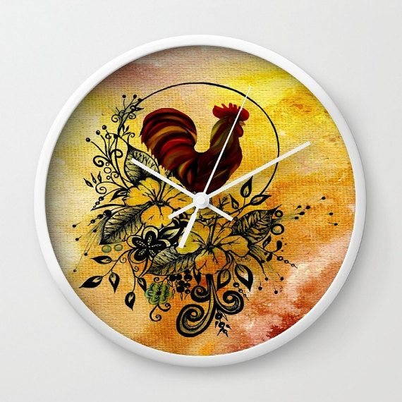 Wall clock, rooster clock, rooster wall clock, yellow wall clock ...