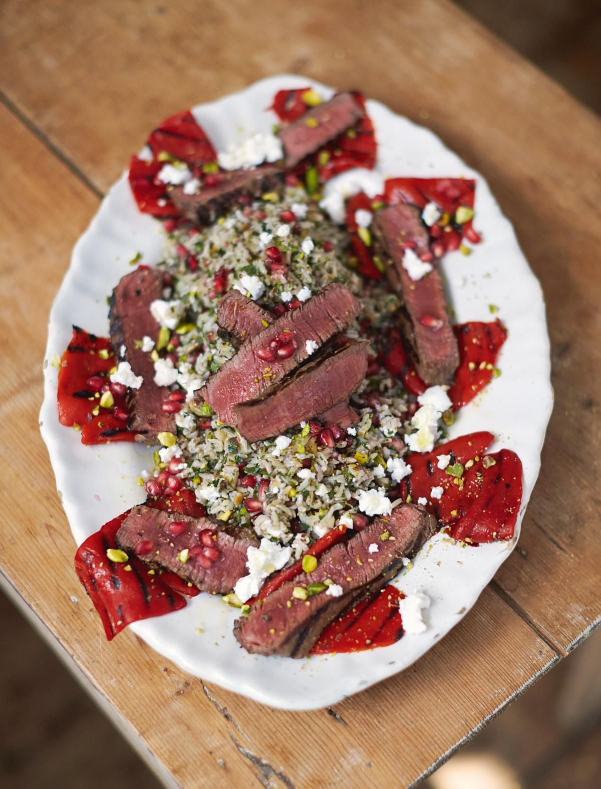 Recetas De Cocina De Jamie Oliver Griddled Steak And Peppers Herby Jewelled Tabbouleh Rice