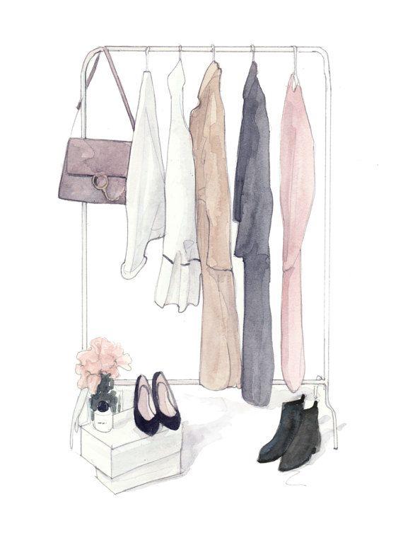 Closet fashion illustration print by Pinodesk on Etsy