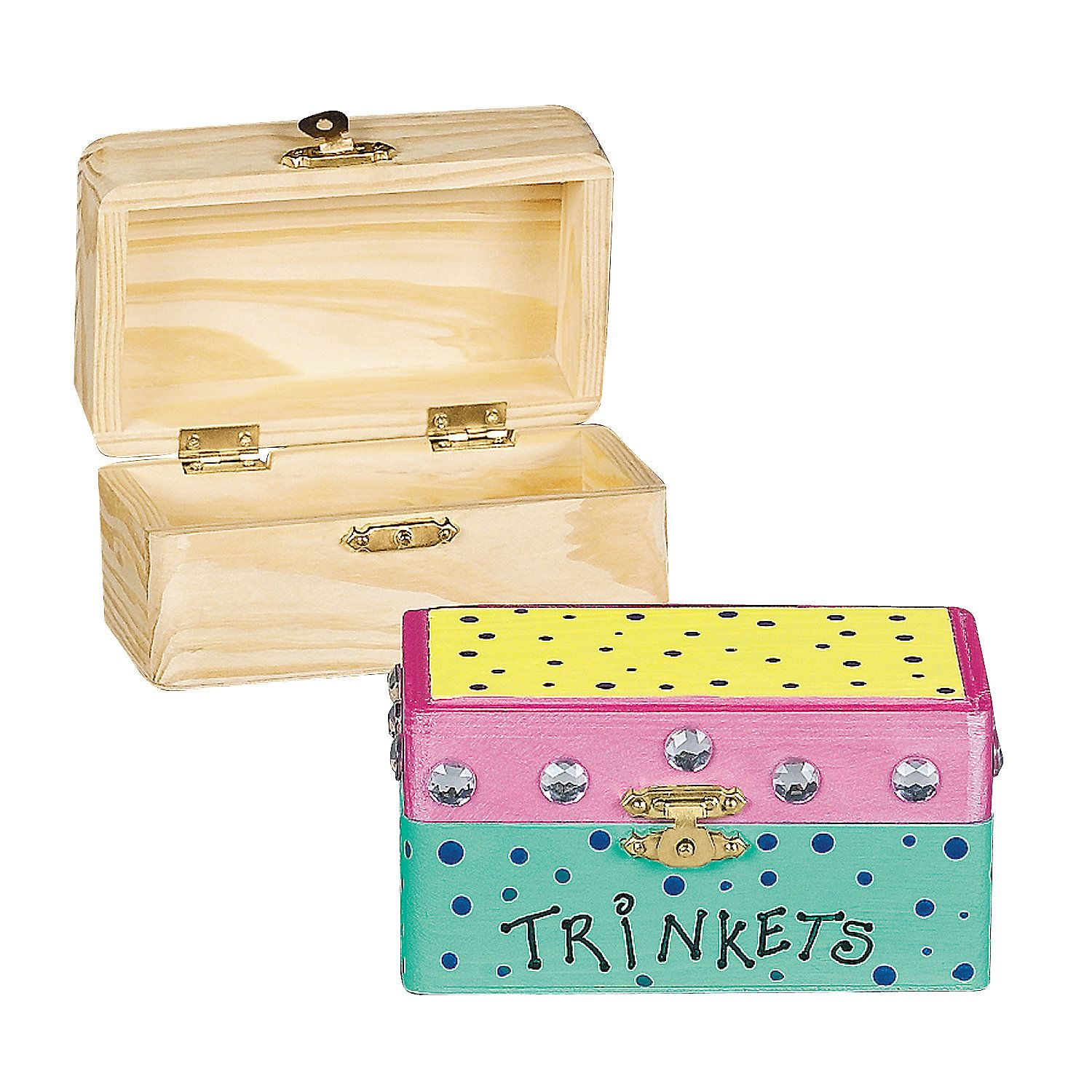 Diy Unfinished Wood Hinged Boxes Orientaltrading Com Wooden Box Crafts Wood Hinges Treasure Chest Craft