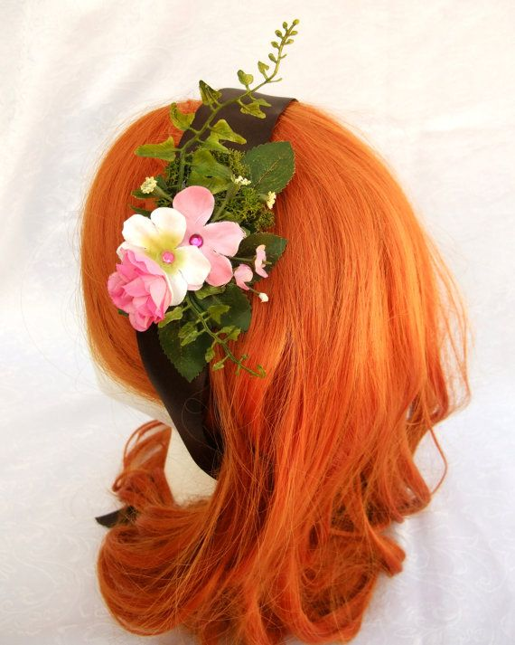 Flower Headband Pink Sash Pink Flowers Forest by RuthNoreDesigns, $18.00