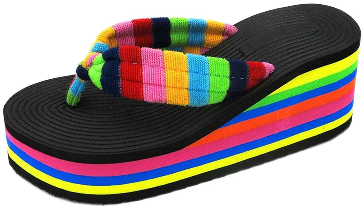 e57c4efae22fc bettyhome Women Lady Houndstooth Stripe High Heels Rainbow Sole Thongs  Casual Wedges Sandals Beach Flip Flops Slippers -- Great to have you for  viewing our ...