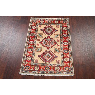 Isabelline One-of-a-Kind Anneta Oriental Hand-Knotted 2.17' x 3.09' Wool Beige/Red/Blue Area Rug