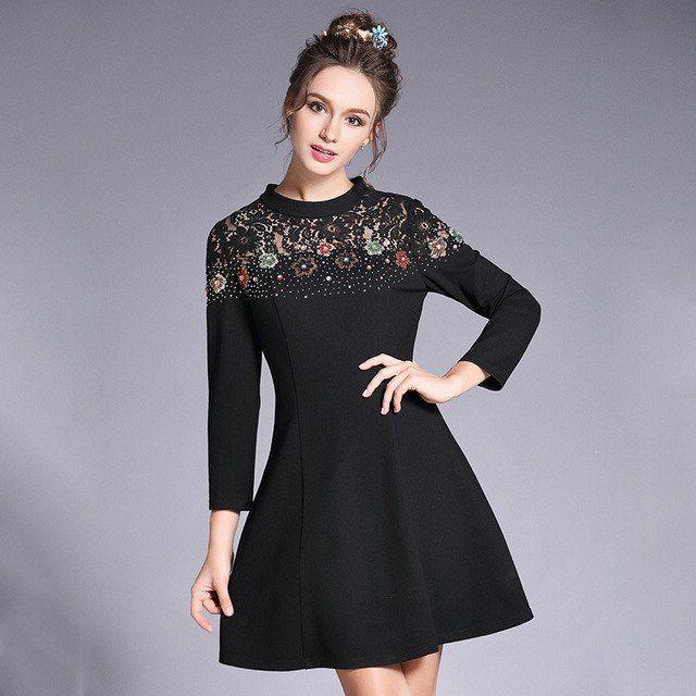 88315585a2c Beaded Lace Inset Black Dress Women Long Sleeve A Line Party Mini Dresses  Plus Size l to 5xl