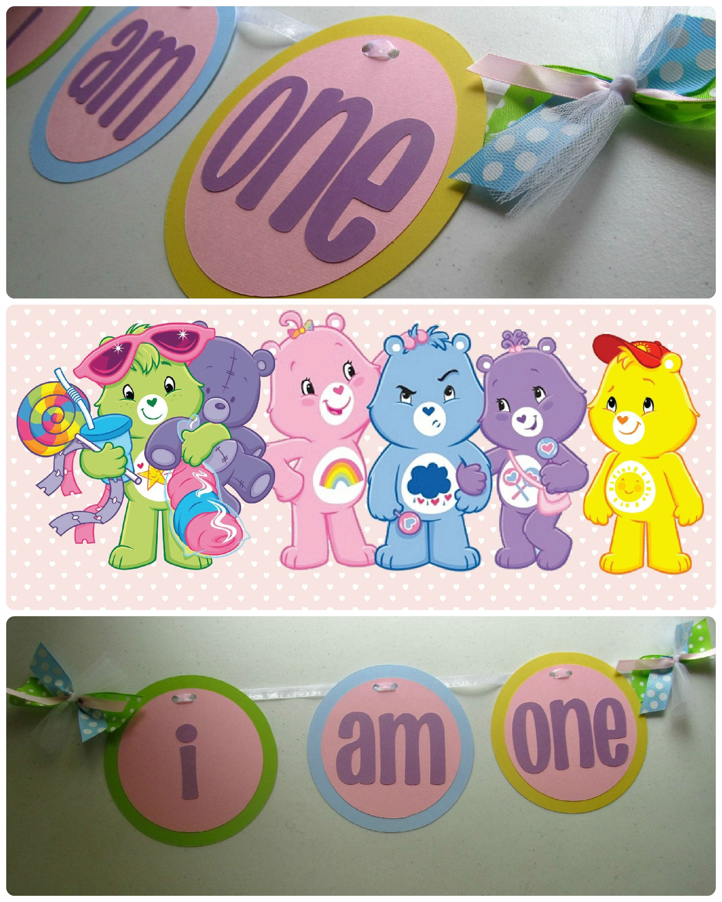 Care bears high chair i am one banner from banana lala party care bear birthday we recently created this i am one high chair banner to coordinate with these cute little care bears on one little girls party monicamarmolfo Choice Image