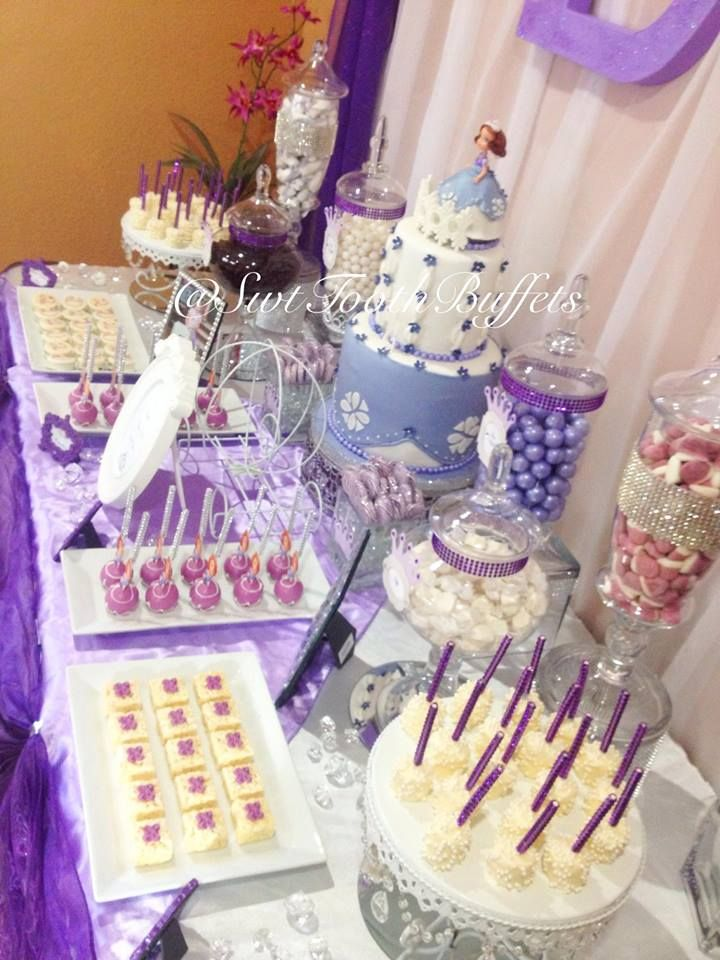 Princess Sofia Party Candy And Desserts Table Cake Pops Fondant Cake First Birthday Party Decorations Princess Sofia Party Sofia The First Birthday Party