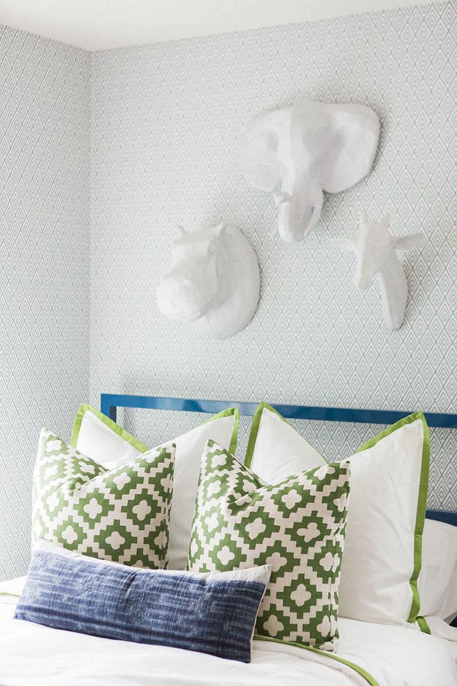 green and white linen Kids Pinterest Bedroom, Kids bedroom and