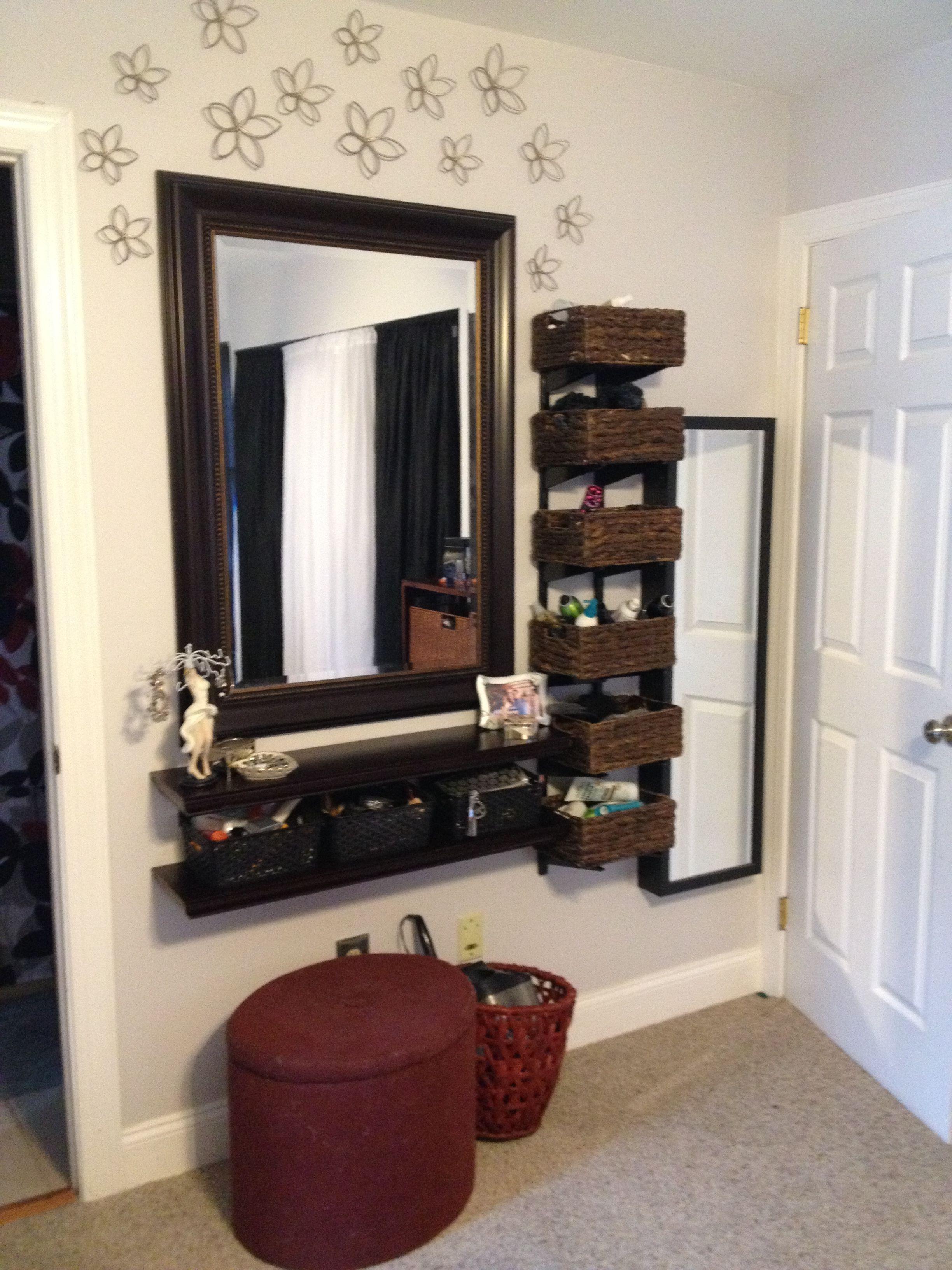 Diy Space Saving Vanity Area Good Idea Baskets On Shelves