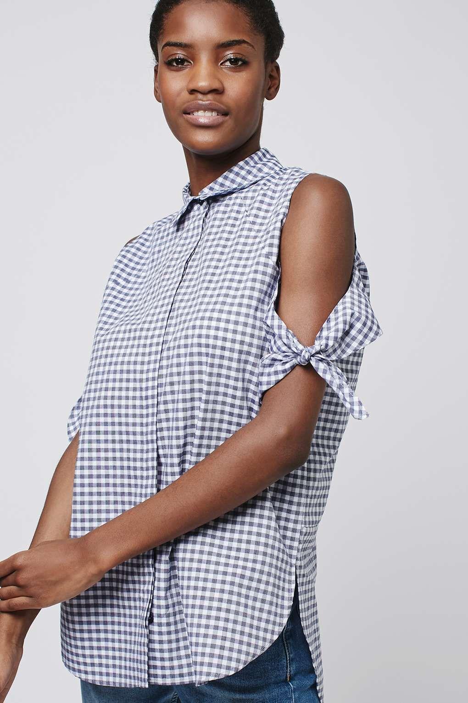 fb5dc7afed963 Gingham Cold Shoulder Shirt