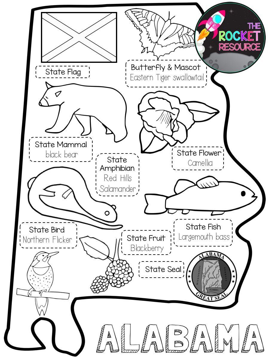 Alabama History Fact Book And Skill Pages State Symbols Alabama State Alabama [ 1200 x 900 Pixel ]