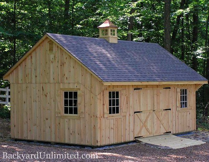 14'x22' Custom Quaker Shed with Board and Batten Siding, 9-Lite Wood Windows, Gable Vents, and Cupola http://www.backyardunlimited.com/sheds.php