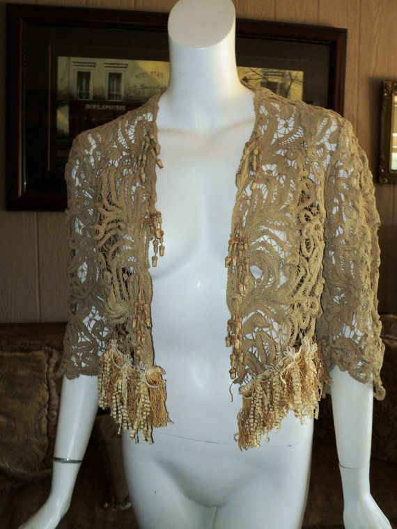 1910 Battenburg Lace Jacket. Materials: battenburg lace, antique passementerie, antique fringe. Front