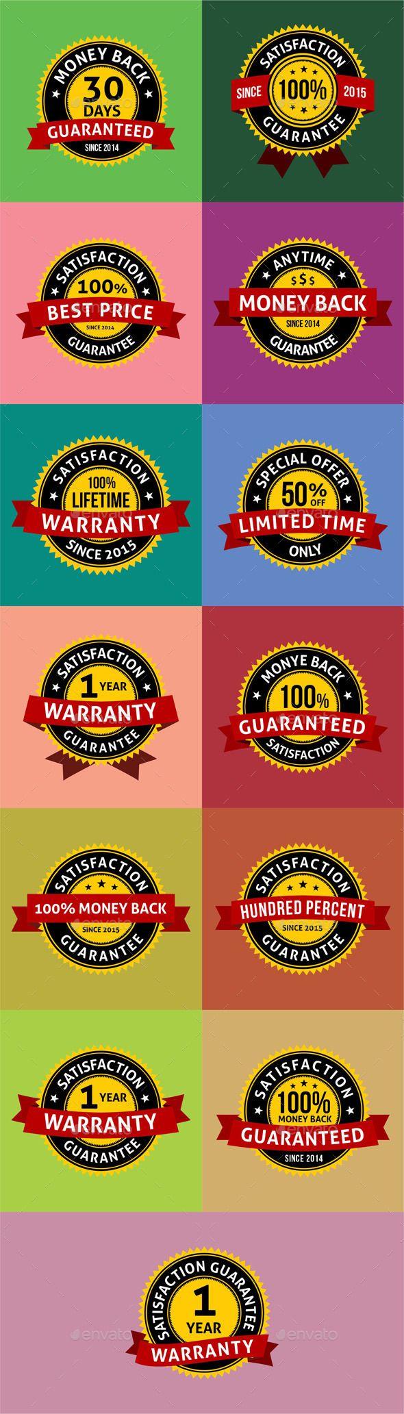 Satisfaction Guarantee Warranty Badges Labels   Fondos