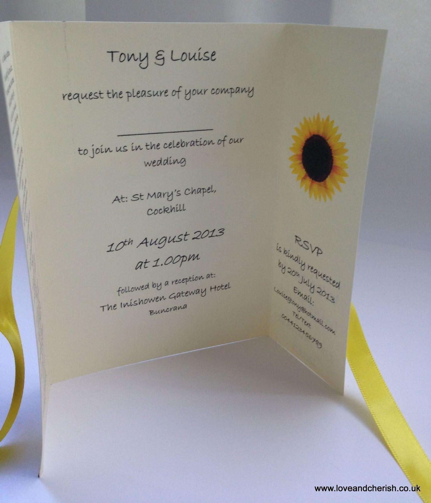 sunflower wedding invitations Sunflower wedding