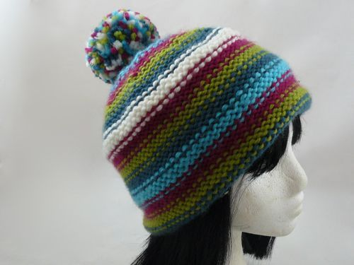 Adults Striped Bobble Hat Free Knitting Pattern Knitted Bobble