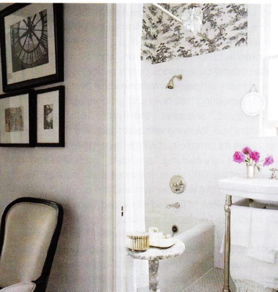 suzie elle decor small chic white black bathroom design with bathroom sink with - Bathroom Ideas Elle Decor