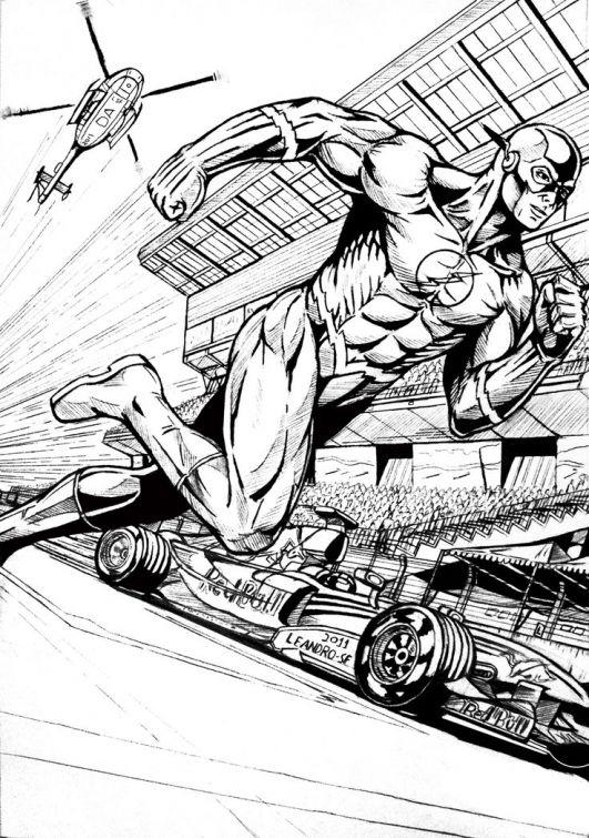 Printable The Flash Superhero Coloring Sheets Online Letscolorit Com