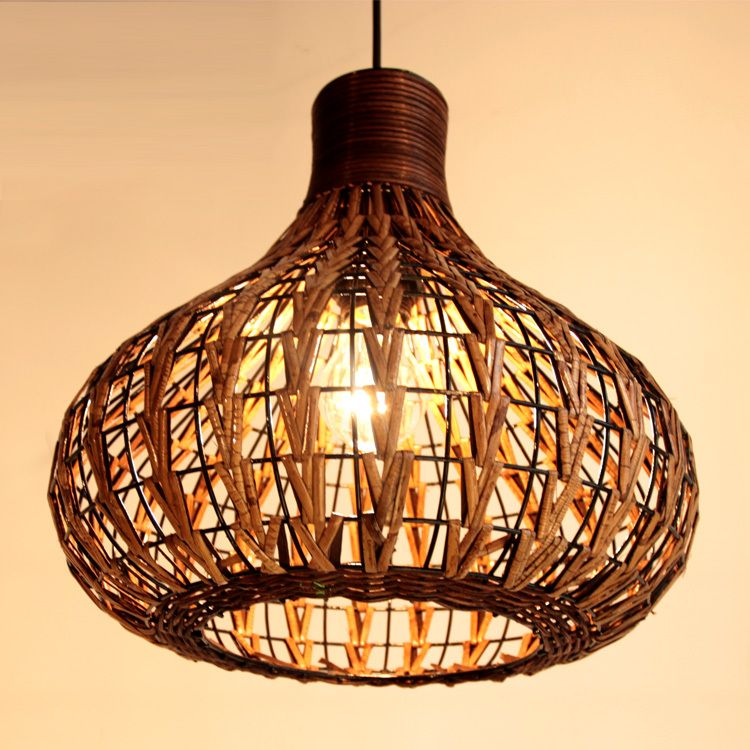 Rattan Lampe Rattan Hängeleuchte Rattan Wohnzimmer Dekoration Lampe Mode  Rustikalen Mode Kurzen Pendelleuchte In Produkt Details