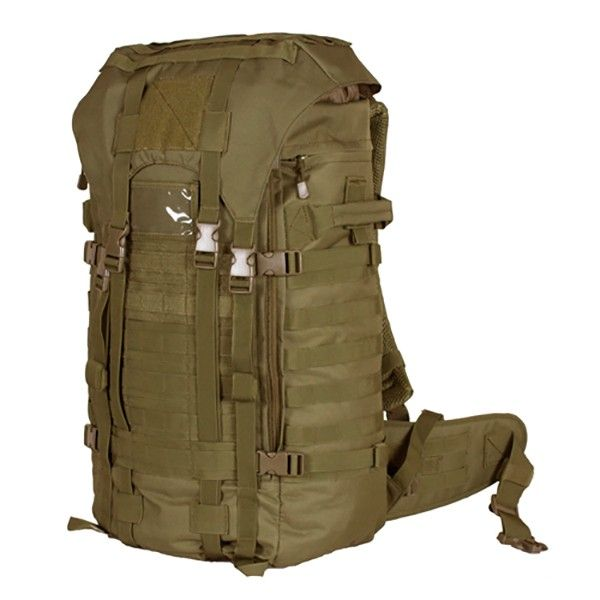 """Large military surplus backpack 1 Mammoth zippered main compartment with internal cinch straps, 2 large mesh pockets and hydration/computer pocket Fitted storm flap with internal draw cord closure for added protection 2 large side-zippered hydration compatible pockets with service ports & loop web strips Modular web attachment points and """"Loop"""" ID panels """"Ladder"""" torso adjustable and padded shoulder strap system allows the pack to be adjusted to the users height"""