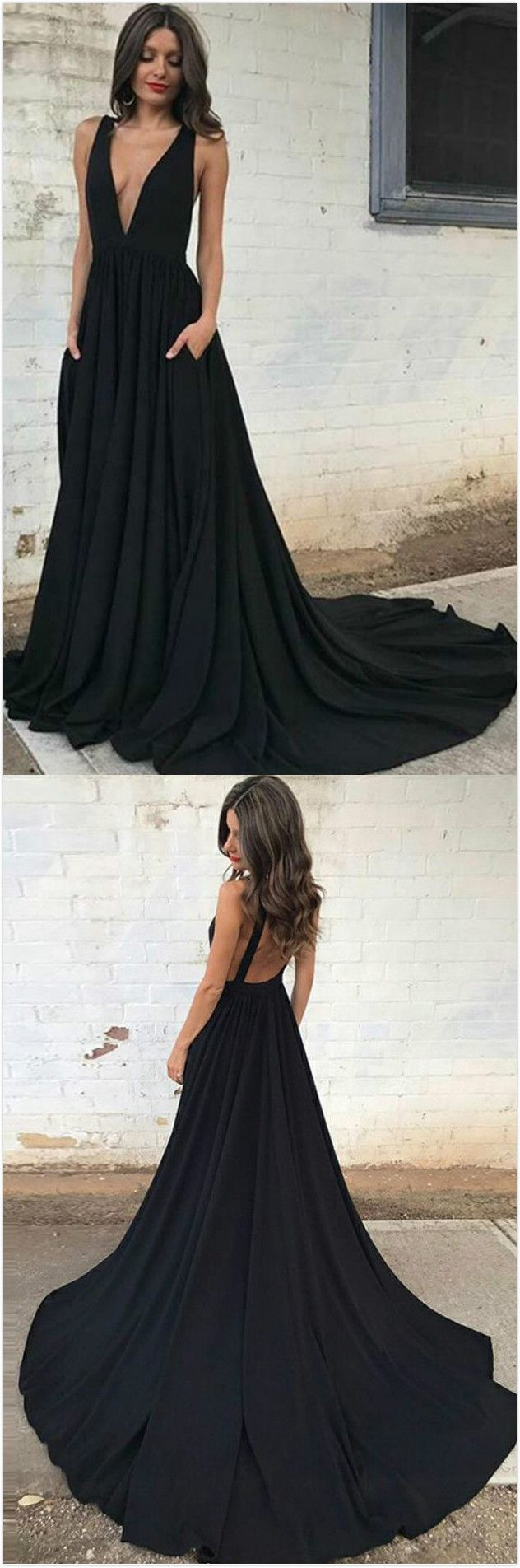Aline deep vneck backless court train black prom dress with
