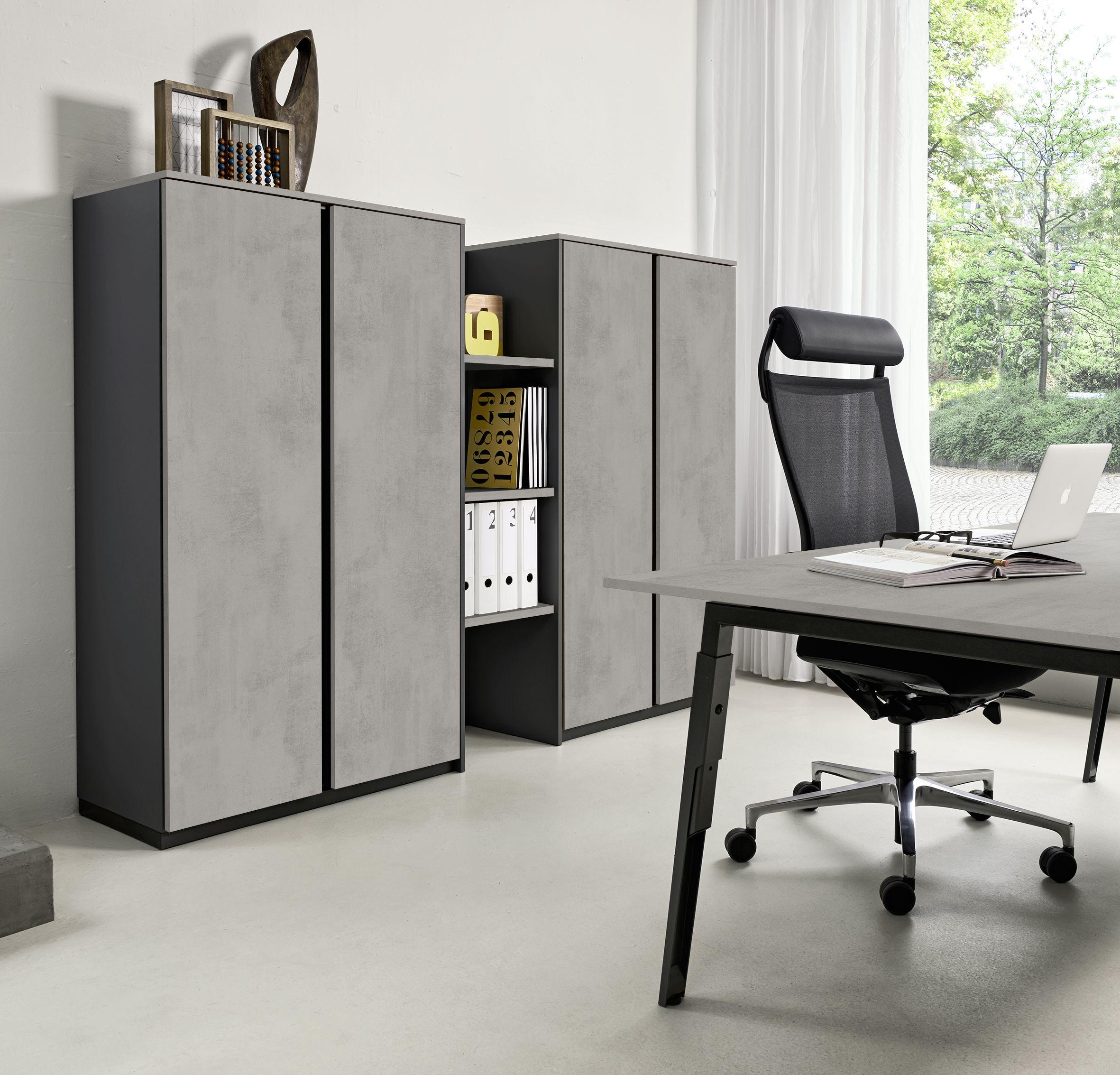 grau im b ro der schrank in betonoptik bringt modernit t in jedes b ro die passende graue. Black Bedroom Furniture Sets. Home Design Ideas