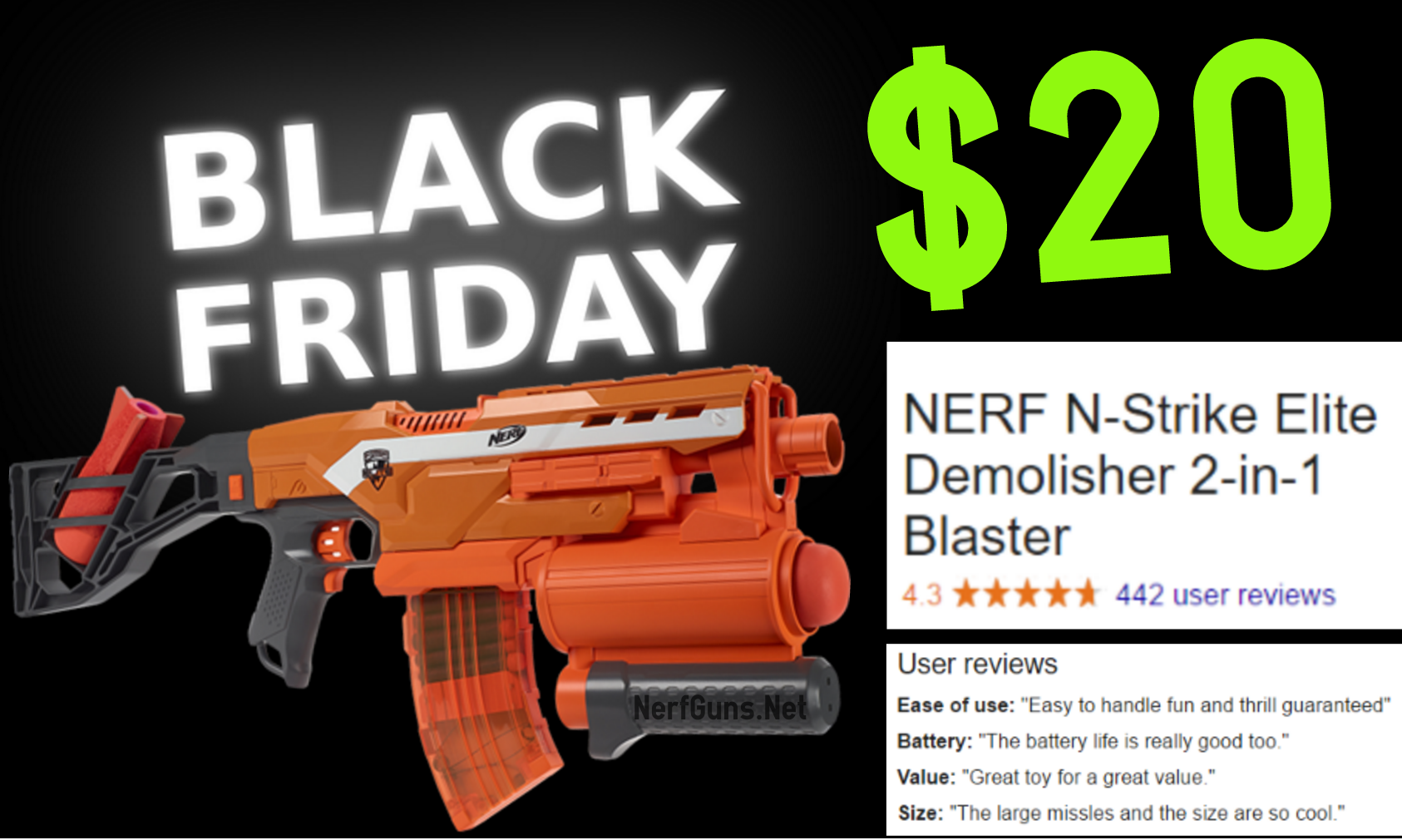 This black friday save 37% on the highly rated nerf gun: the Demolisher.