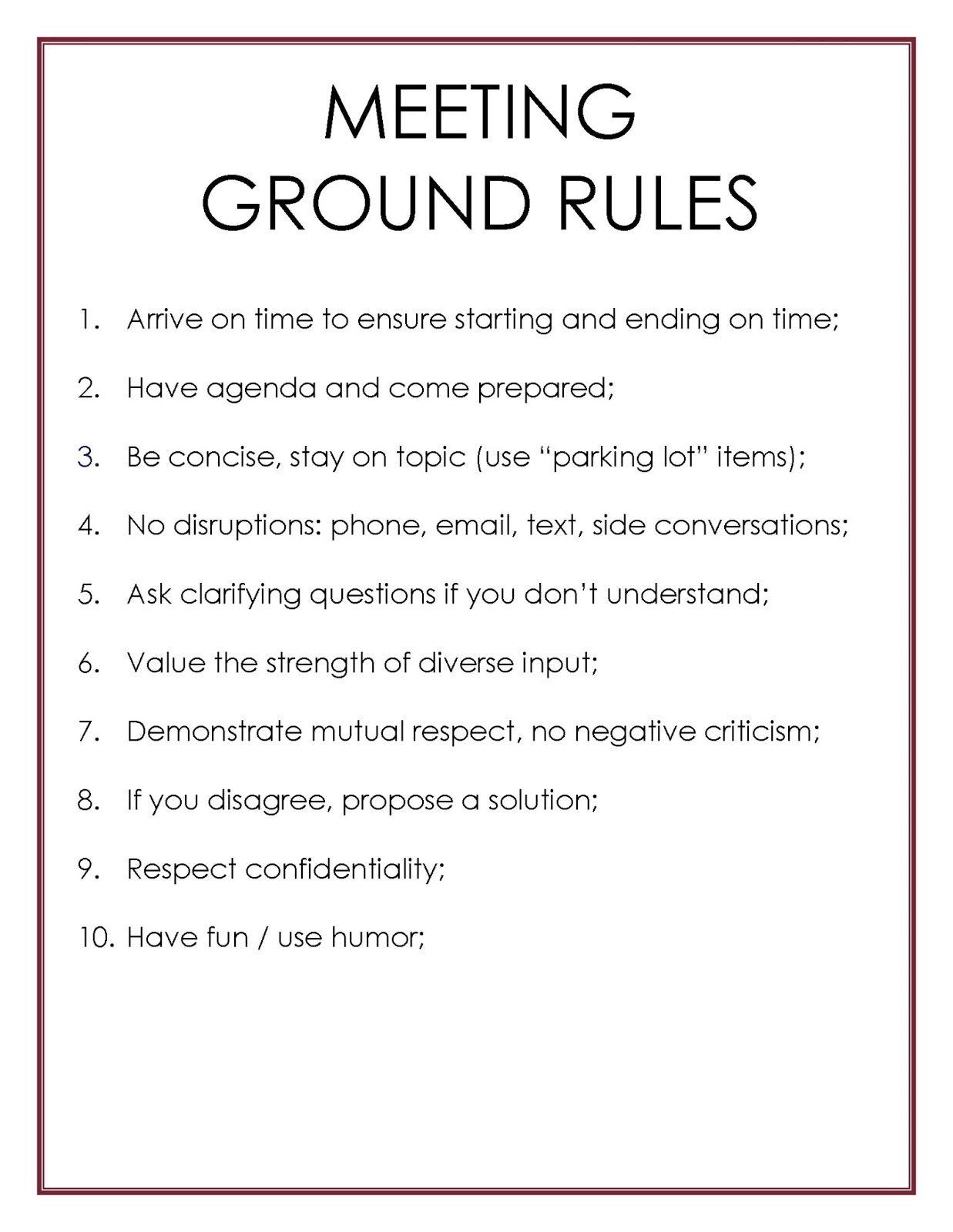 Mycoachken Meetings Ground Rules