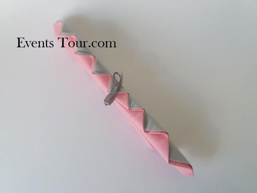 Pliage De Serviette Palmier Rose Et Gris Perle X1 Ref 10048