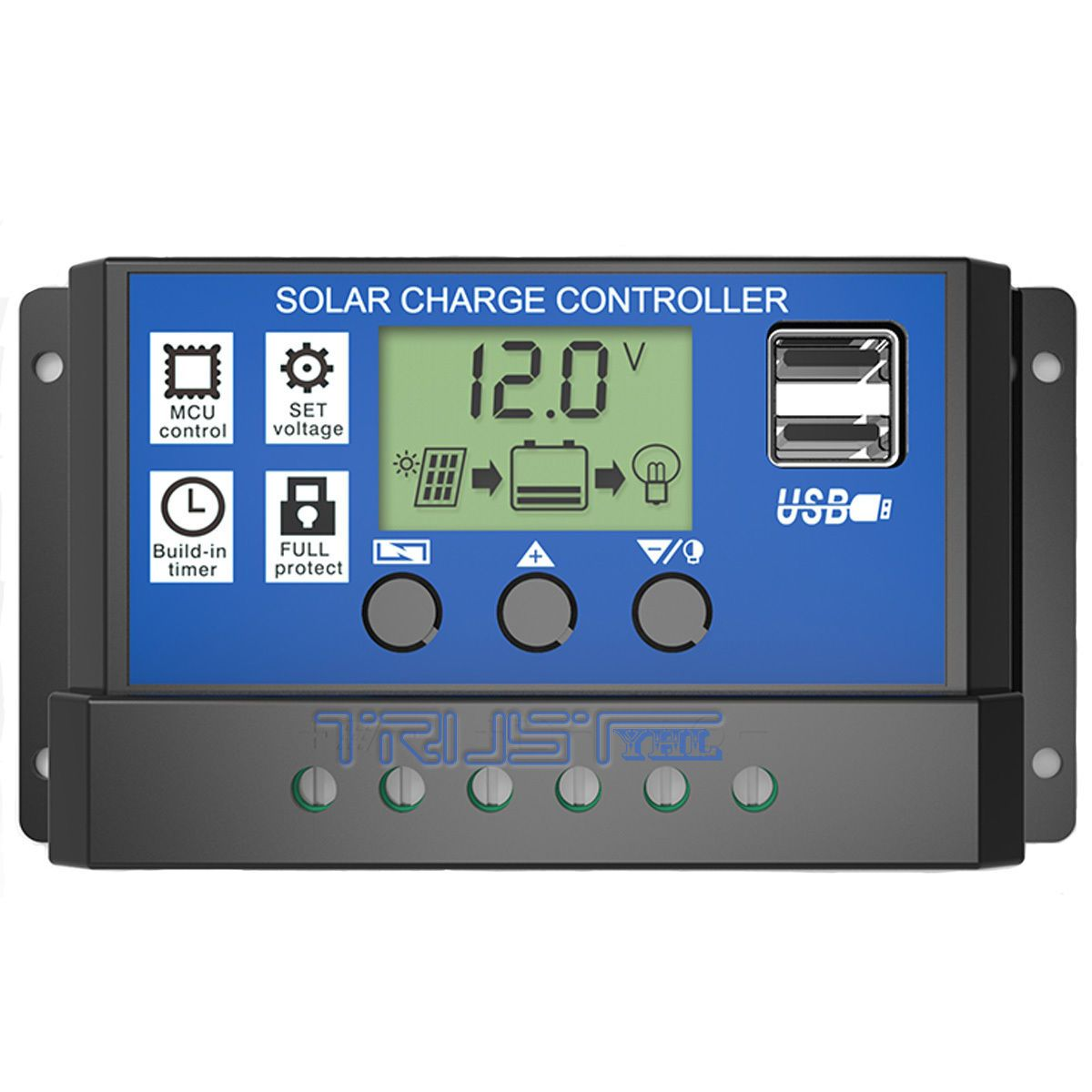 10A 30A 12V 24V LCD Display PWM Solar Charge Controller Dual USB Panel Charger