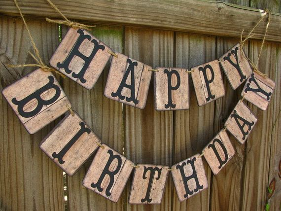 Rustic Banner Happy Birthday Barn Wood Look Vintage Sign Cowboy Dirty 30 Outdoor BBQ On Etsy 2495