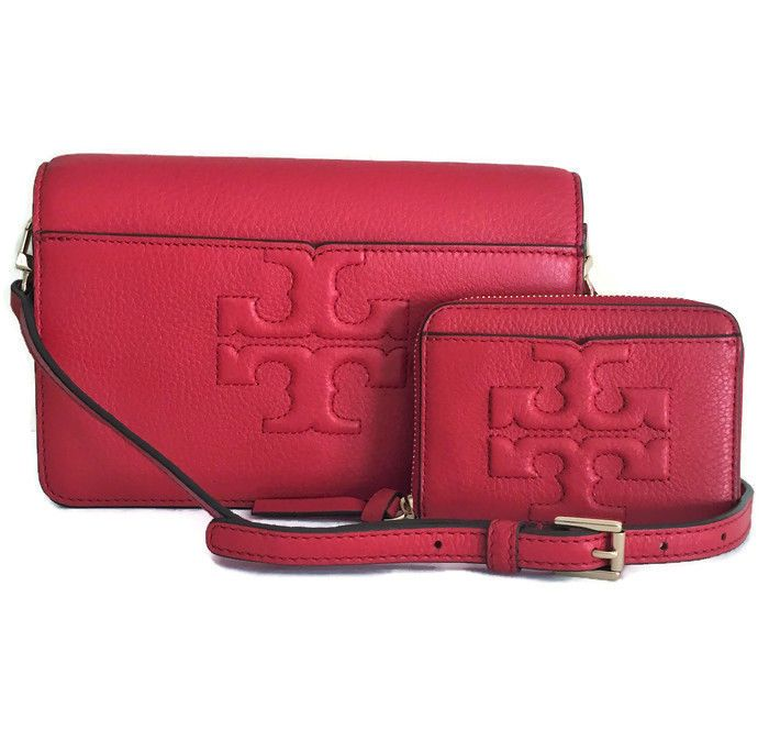 219cb09f99b1 TORY BURCH Bombe-T Set ~ Crossbody   Coin Case ~ Liberty Red Leather NWT   ToryBurch  Crossbody
