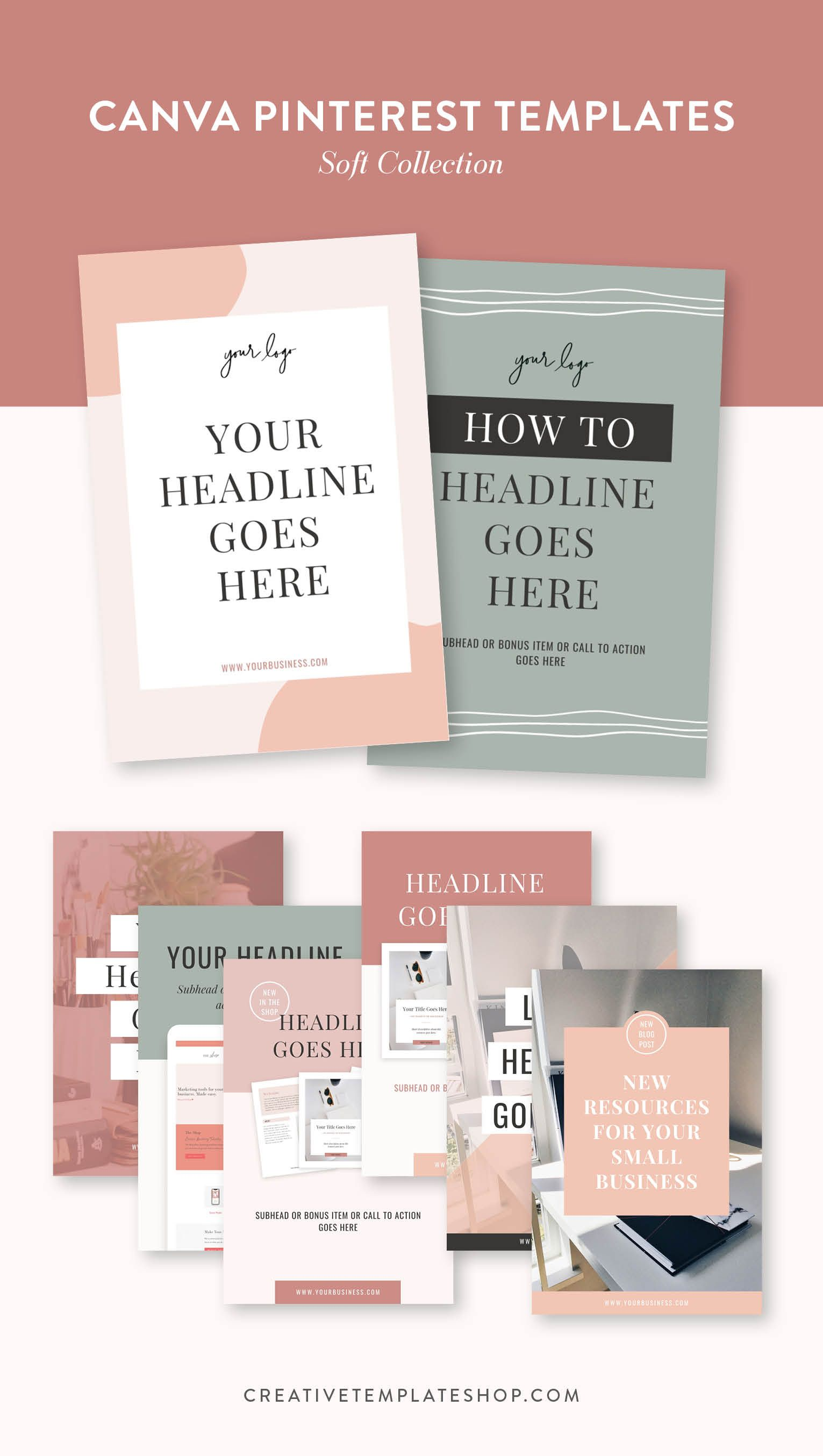Canva Pinterest Templates Soft Collection The Shop in