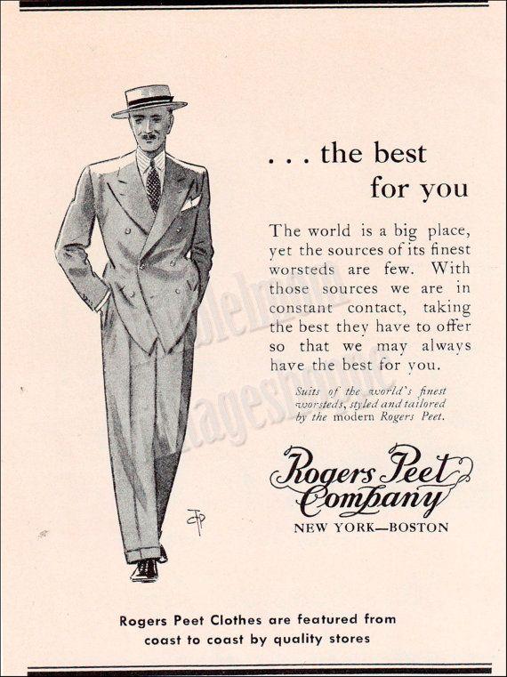 1938 Vintage Ad Rogers Peet Worsted Suits Illustrated Ad Art Etsy Vintage Ads Ad Art Vintage Clothing Men