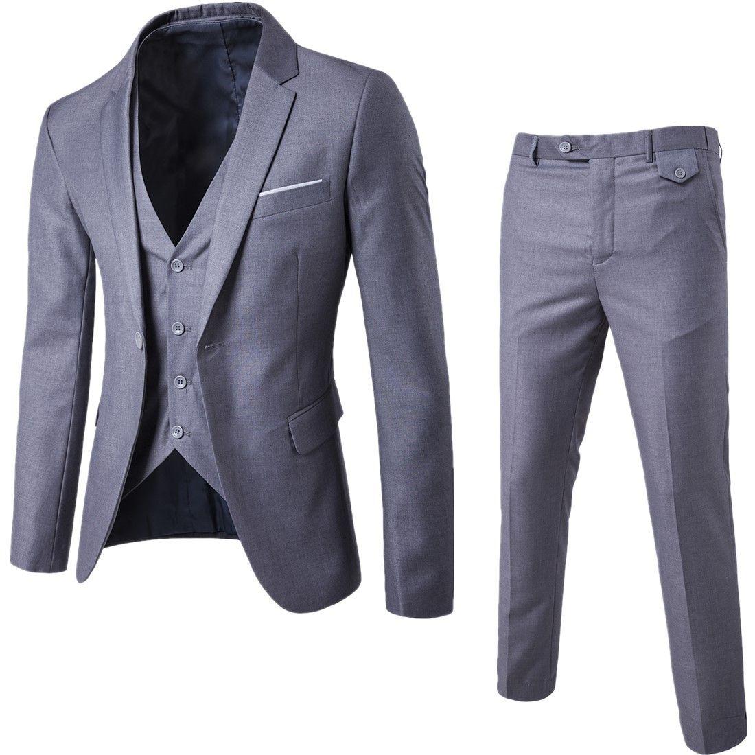 c1ad5543b 2018 nueva llegada de los hombres de negocios traje Slim Fit masculino  clásico trajes de buena calidad trajes de boda para hombres 3 unidades ( chaqueta + ...
