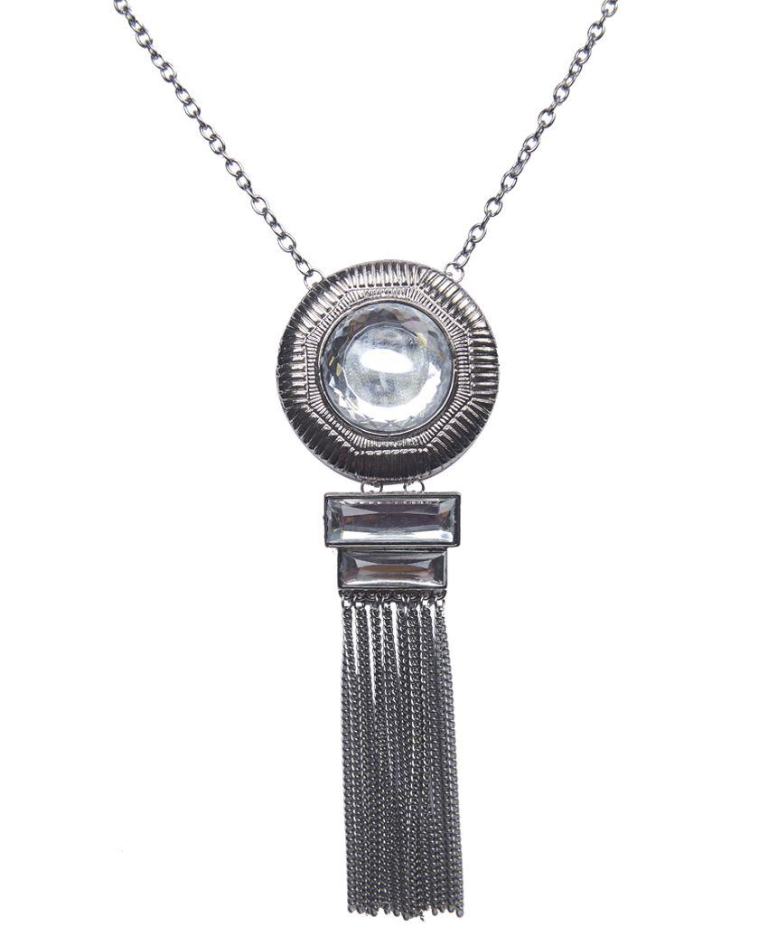 Big Rhinestone & Fringe Long Necklace #jewelry #necklace #silver #rhinestone #bling