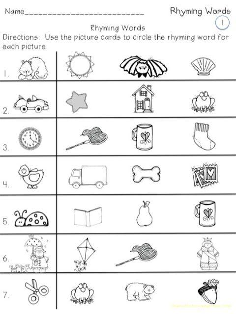 Rhyming Phonics Kindergarten Rhyming Pictures Rhyming Words