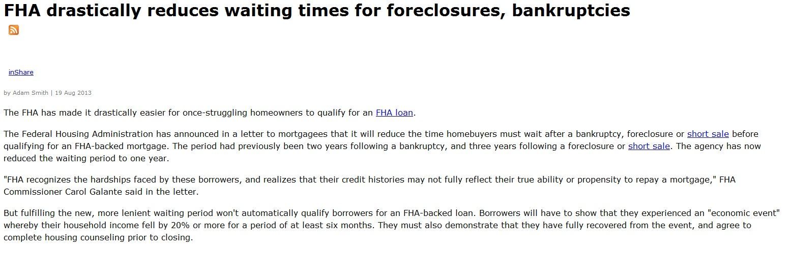 Great News For Borrowers Looking To Purchase A Home Who Have Had A
