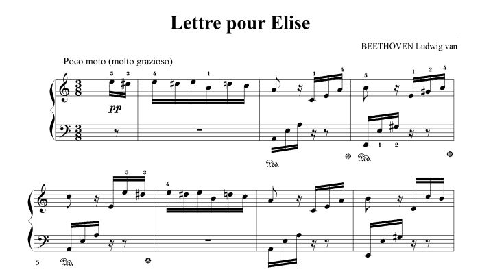 Lettre A Elise Partition Piano Facile Partition Piano