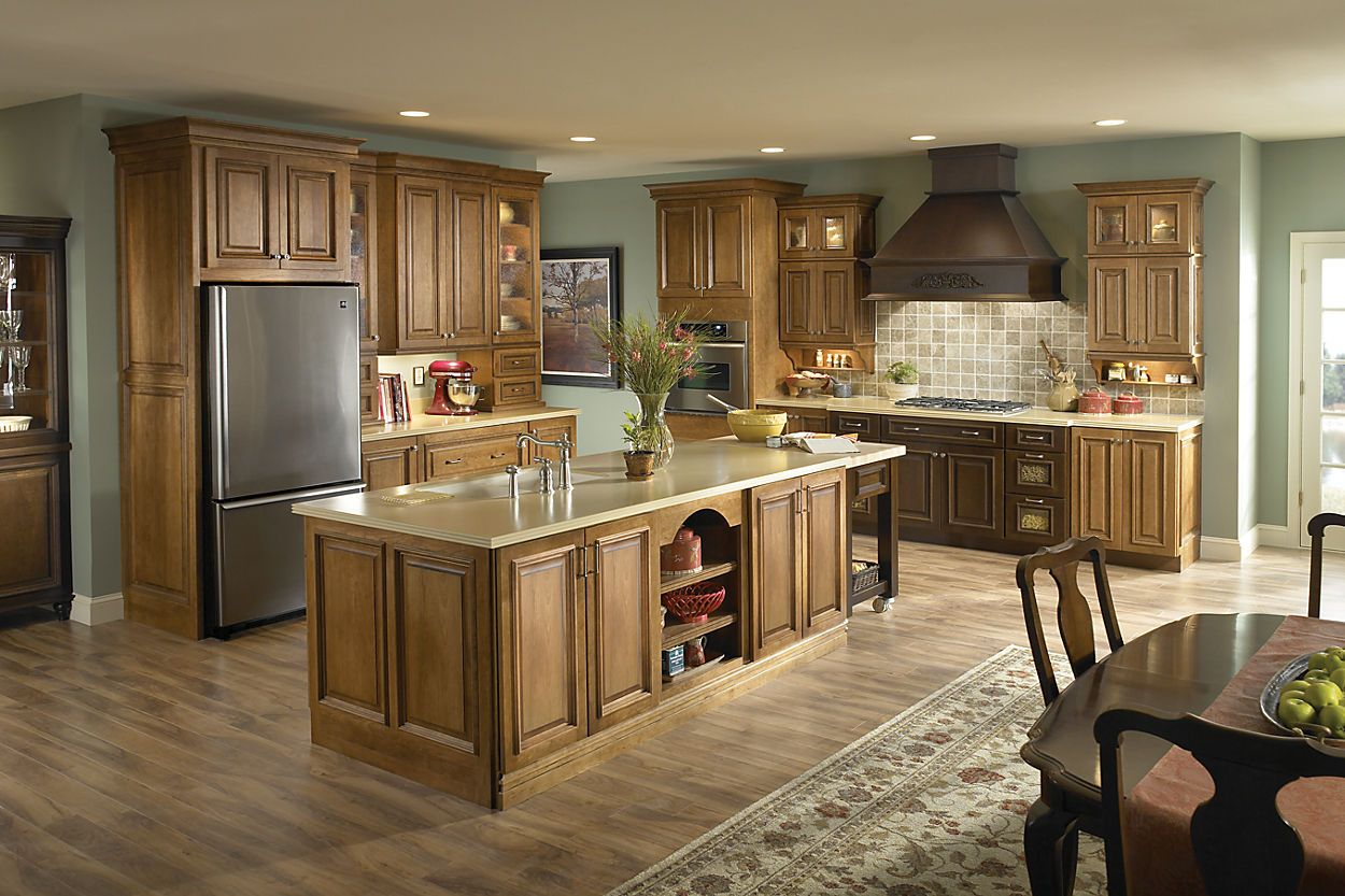 schuler cabinetry thornberry cherry harvest bronze best kitchen colors light wood cabinets on kitchen cabinets light wood id=42186