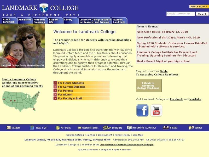 Landmark College College, University list, Landmark