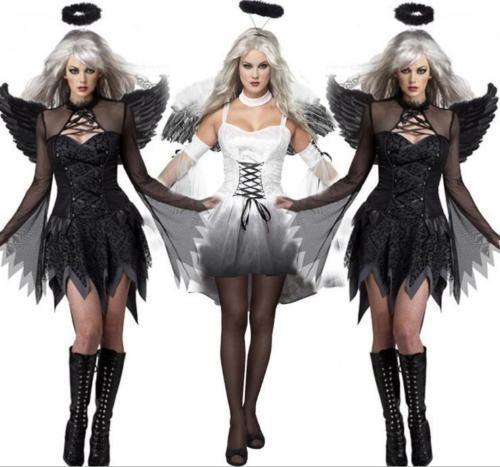 Gefallener Engel Bad Dunkel Fee Kostum Halloween Damen Erwachsene