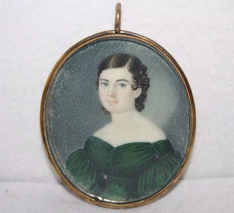 Portrait miniature of a girl in green gown circa 1835. Found on eBay.