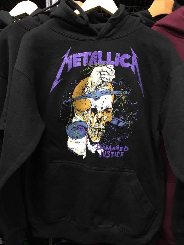 405b35b3 Metallica Damaged Justice Hoodie Purple Letters Halloween Sweatshirt Rock  Music
