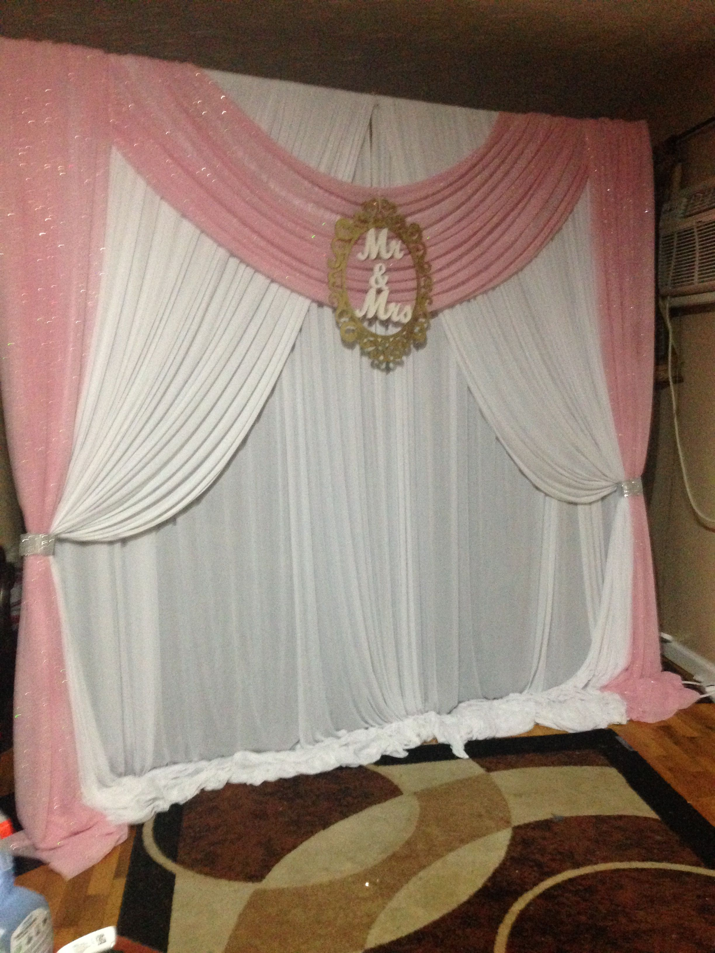 White And Pink Wedding Backdrop Curtain Decor Backdrop