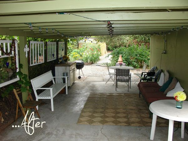 Help Wanted From The Archives Before After Julie S House Garden Patio Carport Patio Carport Makeover