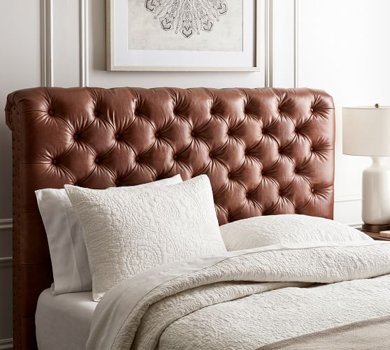 Chesterfield Leather Headboard Pottery Barn In 2020 Leather Headboard Leather Headboard Bedroom Headboard